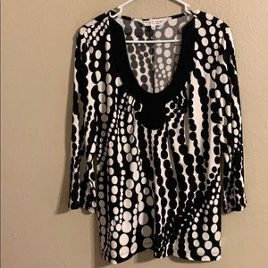 Trina Turk black and white top large